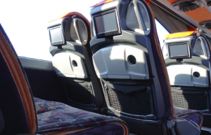 Comfortable seats in intercity buses that comes with monitors